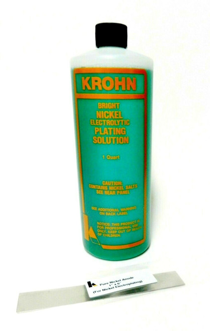 Krohn Nickel Anode and 1 Quart Bright Nickle Electrolytic Plating Solution Bath