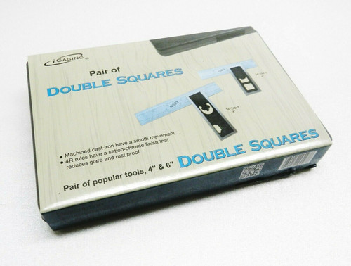 """PAIR 6"""" & 4"""" High Precision DOUBLE SQUARE 4R Steel Blade Machinist Woodworking"""