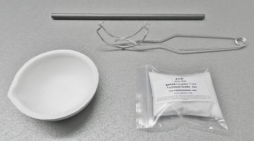 250 Gram Melting Kit Melt Gold Silver Crucible Dish Borax Tong Graphite Rod Set