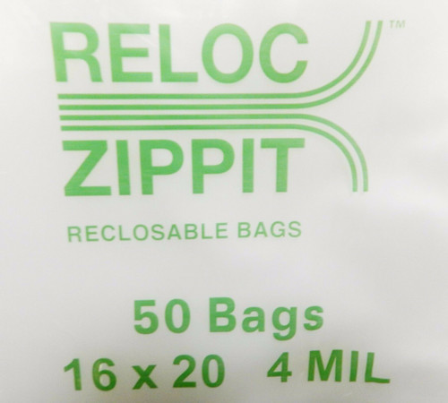 "Reloc Zippit Super Large Zip Seal 16"" x 20"" Reclosable 4mil Clear Poly Bag 4R1620 Per Pack of 50"
