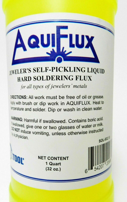 Aquiflux Flux for Gold Silver Jewelry Self Pickling Hard Soldering 32oz / Quart