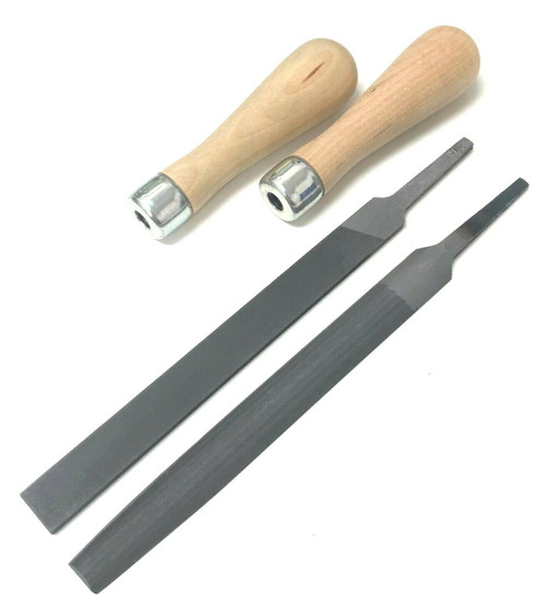 File Set with Lutz Skroo-Zon #4 Wood Handle Flat & Half Round Hand Files