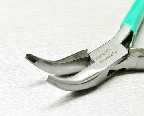 Bent Nose Pliers 45º Bent Jaws with Grooved Notched Tips Jump Ring Closing
