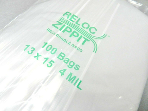 "Reloc Zippit Bags 13"" x 15"" Clear 4 Mil Reclosable Large Bags 100pcs"
