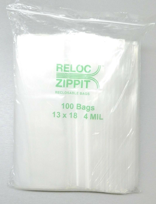 "Zippit Bags 13""x18"" 4Mil Clear Reloc Reclosable Large Jumbo 100 Pcs"