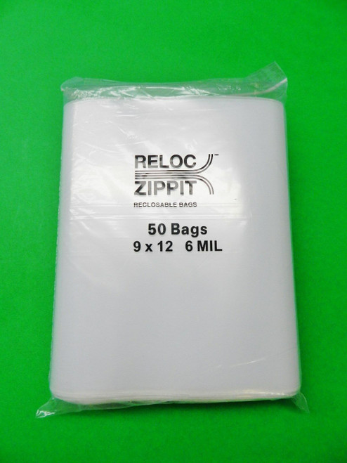 "50 Reloc Bags Zippit 9""x12"" Heavy Duty 6 Mil Thick Clear Large 9 x12 Bags"