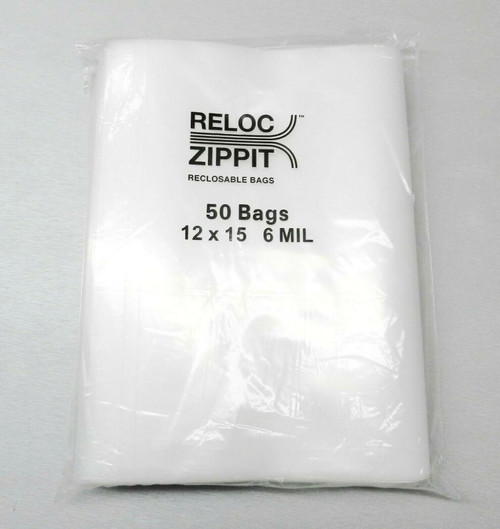 6 MIL Reloc 12x15 Zippit Bags Clear 50 H.D.Thick Zip Seal Lock Jumbo Size 12x15""