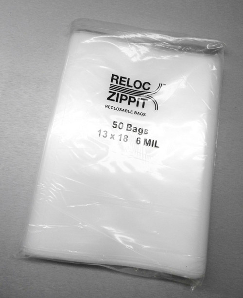 "13"" x 18"" Zippit Bags 6 MIL Clear Reloc Heavy Duty Thick Jumbo bags 50 Pcs"