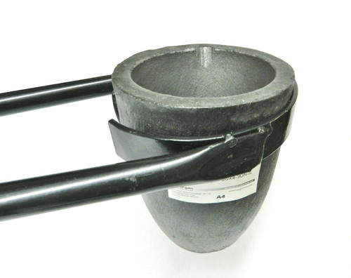 "Set of Salamander A4 Clay Graphite Crucible and Foundry Crucible 26"" Flask Tongs"