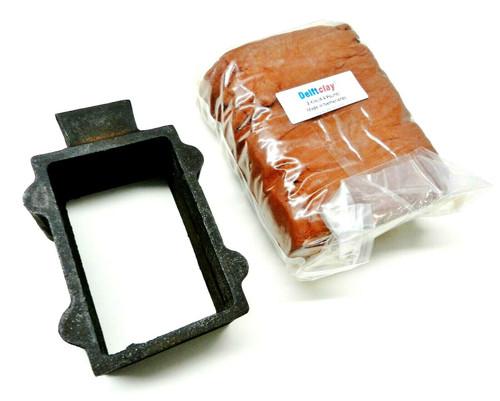 Original Delft Clay & Casting Frame Cast Iron Mold Sand Flask Set for Casting