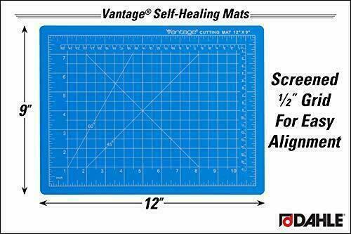 "Cutting Mat 9x12"" Blue Vantage 10690 Self-Healing 1/2"" Grid 5 Layers Inch Metric"