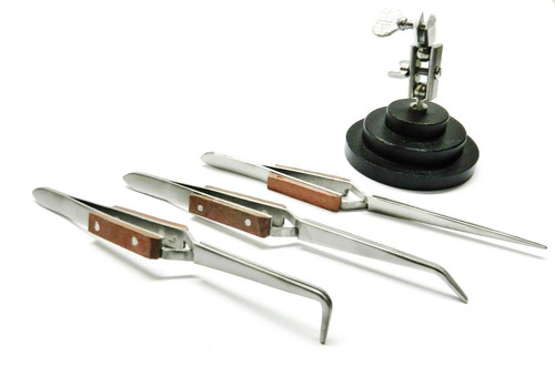 3rd Hand with 3 Fiber Grip Tweezers Cross Locking -Third Hand Base & Tweezer Set