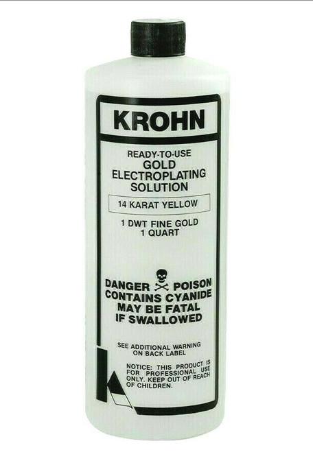 Krohn 14K Gold Plating Solution 1 DWT Ready to Use Gold Electroplating Quart