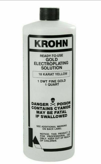 Krohn 18K Gold Plating Solution 1 DWT Ready to Use Gold Electroplating Quart