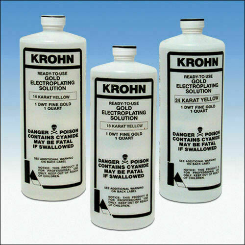 Krohn 24K Gold Plating Solution 1 DWT Ready to Use Gold Electroplating Quart