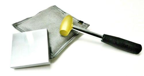 Steel Bench Block - Sand Bag & Brass Mallet Jewelry Metal Working Tools Set of 3