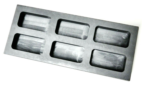 5oz Graphite Ingot Mold 6 Cavity Melt Pour Silver Bars Melting Metal Refining
