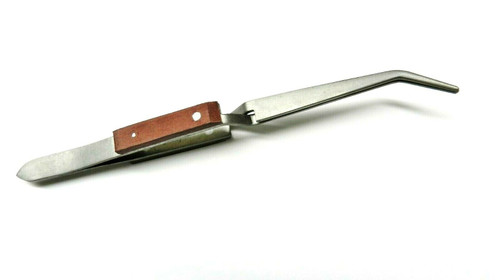 """Titanium Tweezers Fiber Grip Cross Lock Curved Tip Bent Tweezer 6-1/2"""" Locking"""