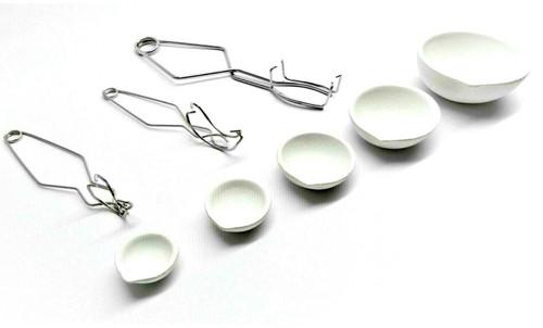 Ceramic Crucibles 5 Dish Cup Sizes & 3 Tong Whip Handle Melting Kit Gold Silver