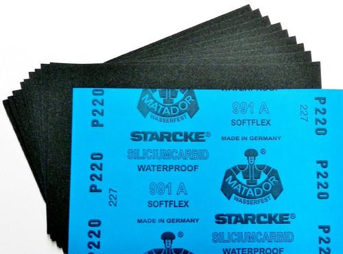 "Matador Abrasive Wet Dry Sandpaper 50 Sheet 220 Grit 5-1/2"" x 9"" Silicon Carbide"