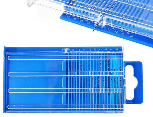 20x HSS Twist Drill Bit Set in Plastic Case Sizes 61-80 Jewelry Drills 20 Piece