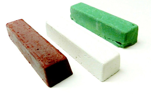 Jewelers Rouge Red Green and White Metal Polishing Compound Set of 3 Bars
