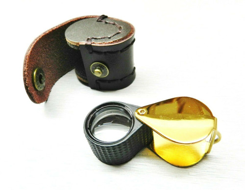Jewelers Loupe Triplet 10X Black Rubber Grip & Gold Case 18mm with Leather Case