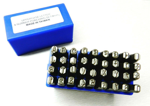 4mm Number & Letter Punches 36pc A-Z Set Boxed Jewelry & Leather Marking Stamps