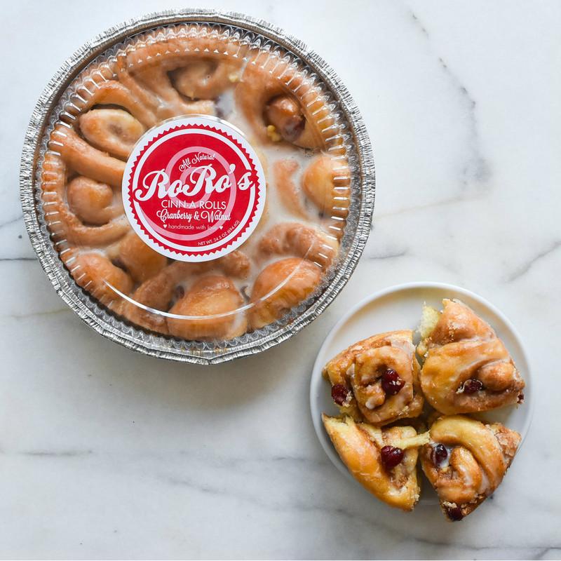 HOLIDAY:  RoRo's Cranberry & Walnut Cinn-A-Rolls, 2 Pans