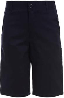 Nautica Boys' Big School Uniform Flat Front Stretch Twill Short, Navy, (Size12)