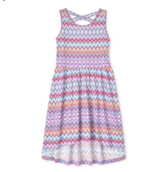 The Children's Place Girls' Chevron Cross Back High Low Dress (Size 16)