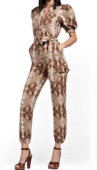 An all-over snake print makes an edgy statement on our sporty cargo jumpsuit, finished with a waist-defining self-tie belt.62554640