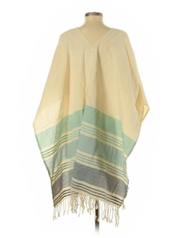 Tribe Alive Caftan Cotton Coverup Poncho Blue One Size