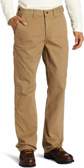Khaki's been long regarded as tough and work-ready fabric, which is why the carhartt rugged work khaki pant is made of durable 9.25-ounce, 100 percentage cotton ring-spun peached twill khaki.