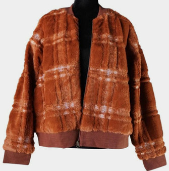 The teddy jacket has a bomber style aesthetic w/ ribbed cuffs & collar.  There is a zipper closure