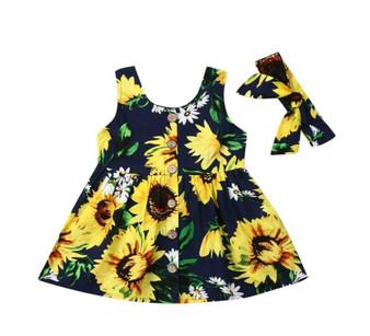 2PCS Toddler Girl Sundress Baby Sunflower Princess Pageant Tutu Dress Clothes - (Sz 18-24 Months)