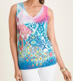 Tank style turns heads in this vibrantly printed take on the sunny day essential.