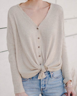 Cozy Waffle Button-Up Top (Sz Med)