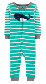 Crafted in soft cotton with a cute print, this 1-piece gets him ready for bed in one easy zip!