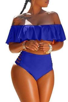Blue Sexy Hollowed-out Blend Bikini - (Sz Med)