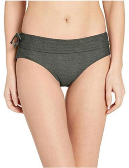 This side-tie swim bottom provides full seat coverage, a hipster leg cut, mid-rise, and a wide waistband.