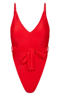 RED TIE WAIST BELTED SWIMSUIT - (Sz US 8 /UK 12)