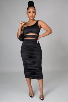 2 Piece Satin Black BodyCon Skirt Set - (Sz Med / Large)