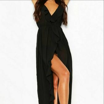 Frill Split Maxi Beach Dress