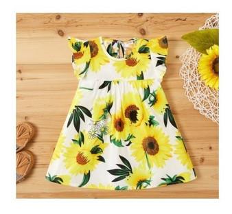 Sunflower Print Flutter Sleeve Baby Dress - (Sz 6-9 Months)