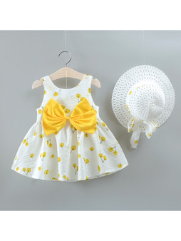 2-piece Cherry Allover Bow Decorative Dress and Hat Set - (Sz 9-12 month)