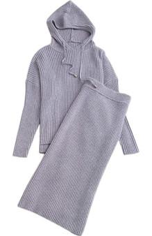 2 Piece Sweater Dress Set  w/ Hoodie - (Sz Lg)