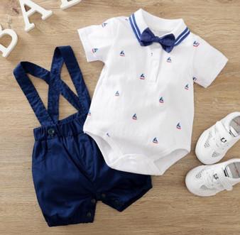 2-piece Bow Decor Bodysuit & Dungarees for Baby Boy -(Sz 3-6 Months)