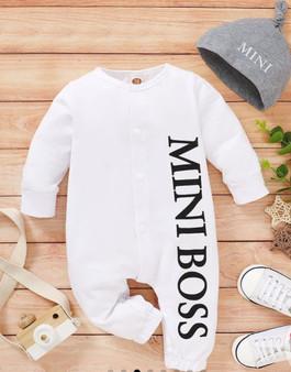 """2pcs """"Mini Boss"""" Letter Print Short-Sleeve Baby Set - (9-12M)"""
