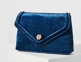 Anthropologie Blue Francesca Velvet Clutch